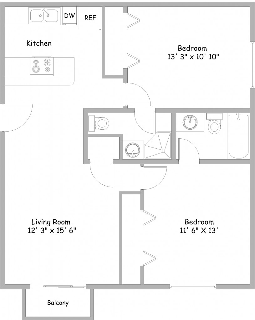 Floor Plan 2A  2 Bed / 1.75 Bath