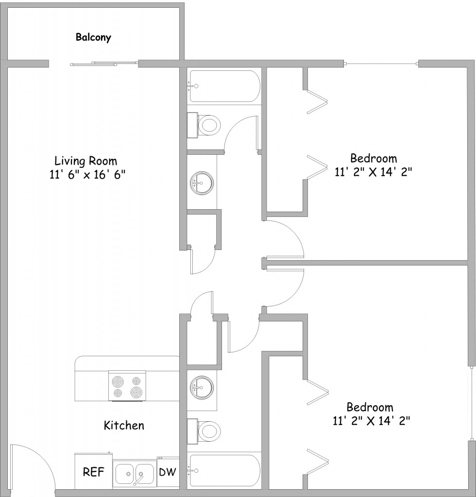 2 bedroom apartments rent college park apartments for Floor plan 2 bedroom