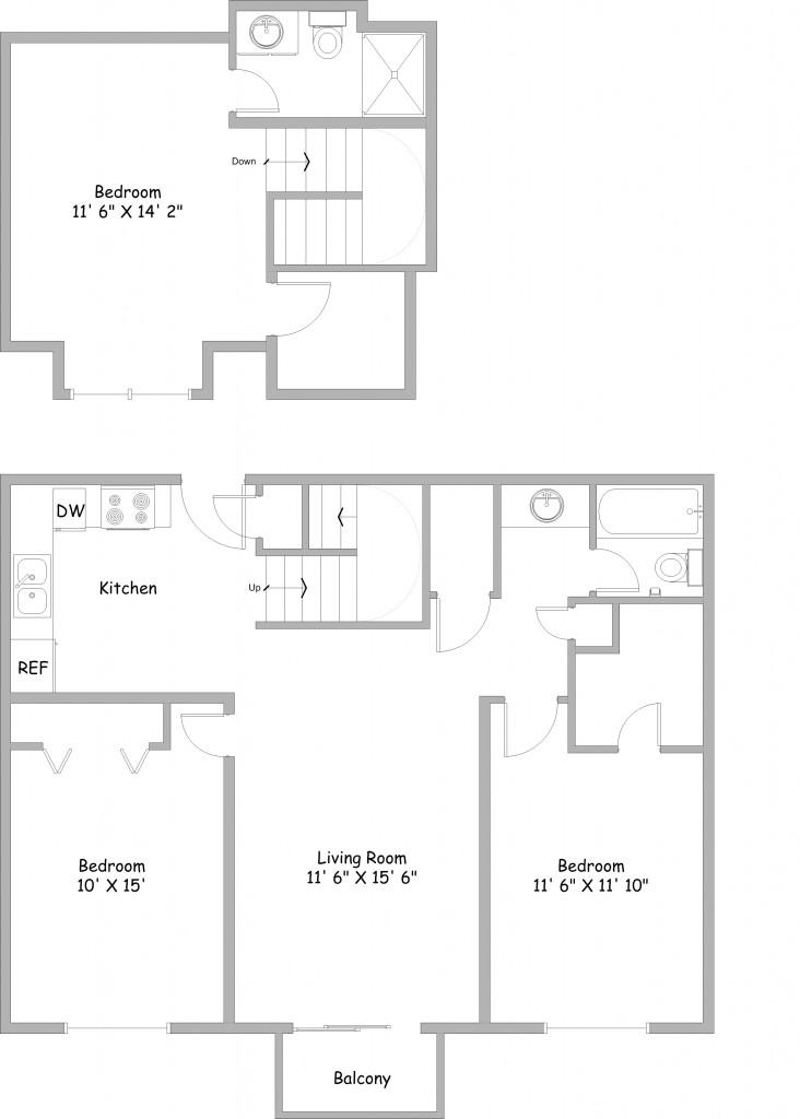 3 Bedroom Floor Plans - Rent College Park Apartments